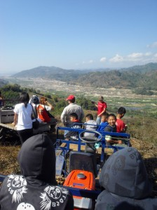 Look at the Mekong scenery in dry season from the mountain